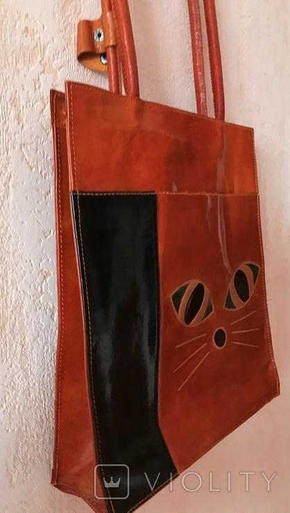Кожаная сумка с изображением Кота, фото №4