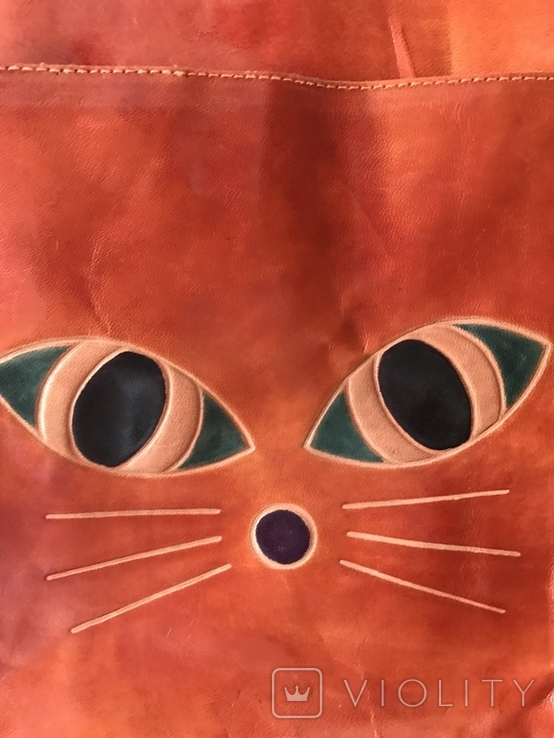 Кожаная сумка с изображением Кота, фото №12