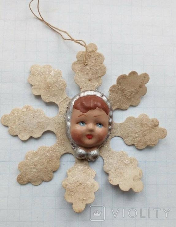 Елочная игрушка Снежинка папье -маше  1960г., фото №2