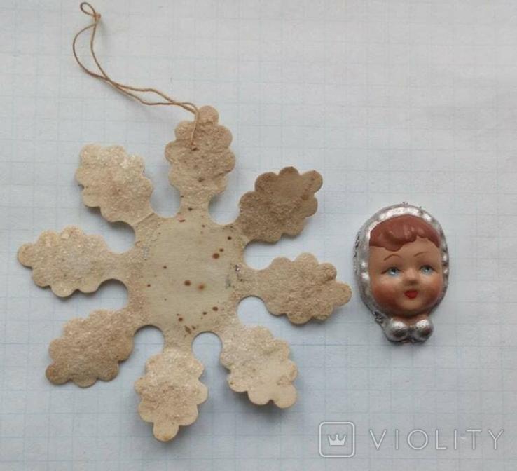 Елочная игрушка Снежинка папье -маше  1960г., фото №3