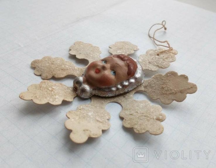 Елочная игрушка Снежинка папье -маше  1960г., фото №6