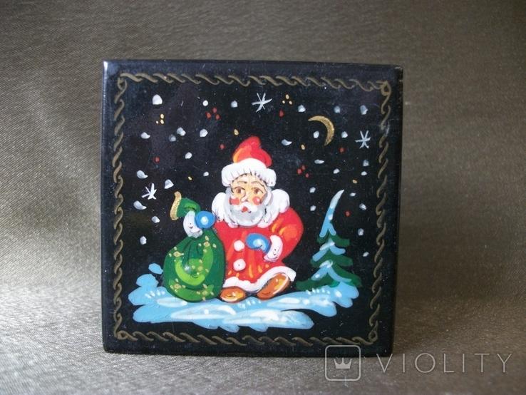 7АН2 Шкатулка. Дед Мороз с мешком подарков., фото №2
