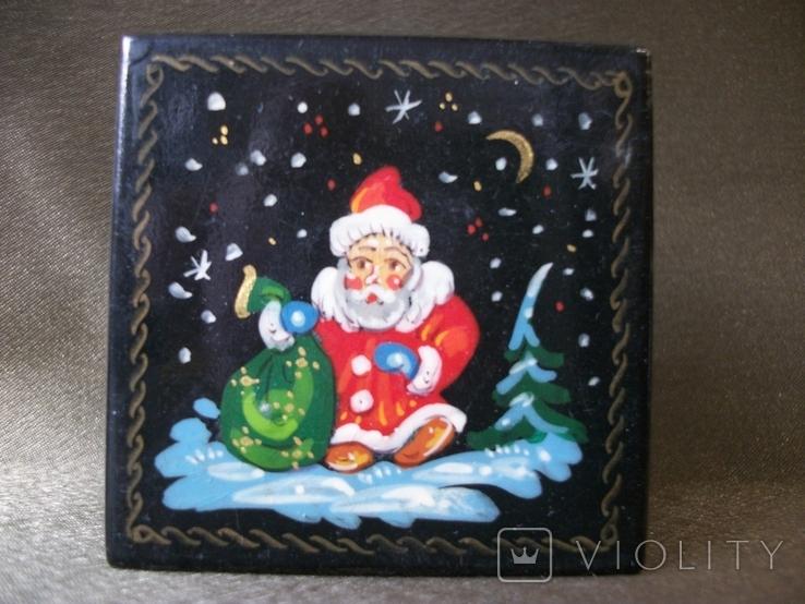 7АН2 Шкатулка. Дед Мороз с мешком подарков., фото №3