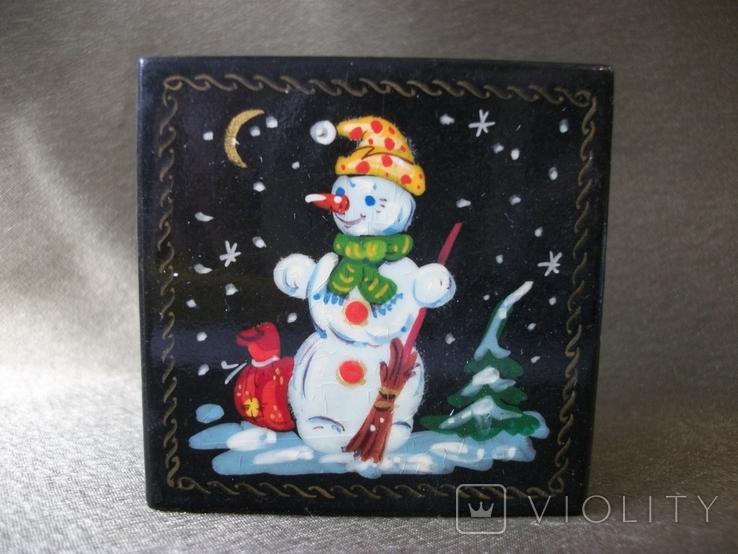 7АН4 Шкатулка. Снеговик, снежная баба, зима, фото №2