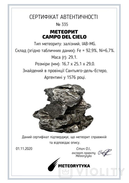 Залізний метеорит Campo del Cielo, 29,1 грам, із сертифікатом автентичності, фото №12