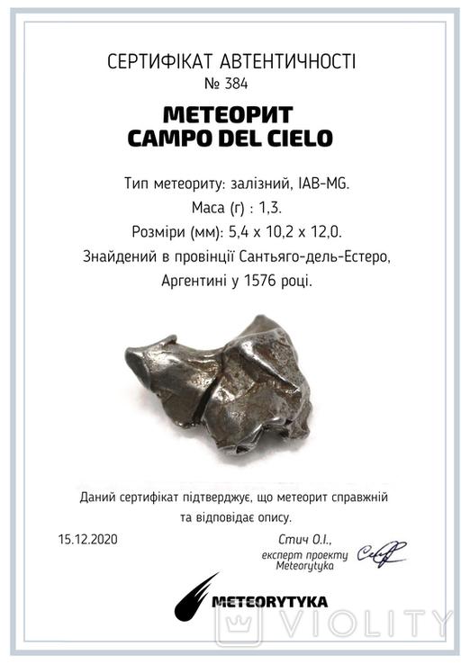 Залізний метеорит Campo del Cielo, 1,3 грам, із сертифікатом автентичності, фото №12