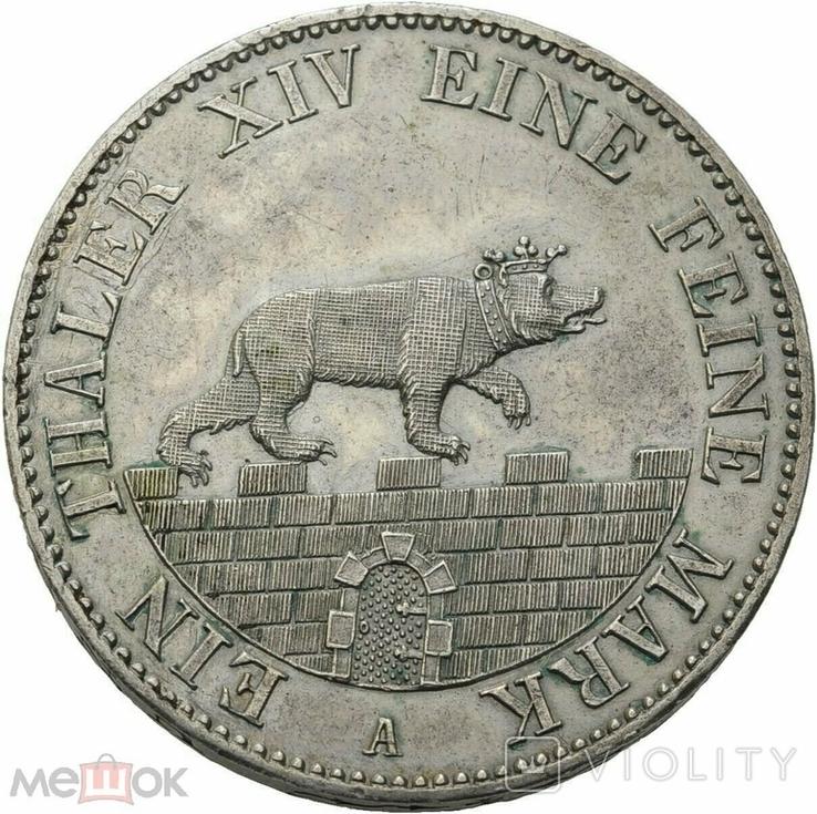 Германия Ангальт-Бернбург 1 талер 1855 А, фото №2