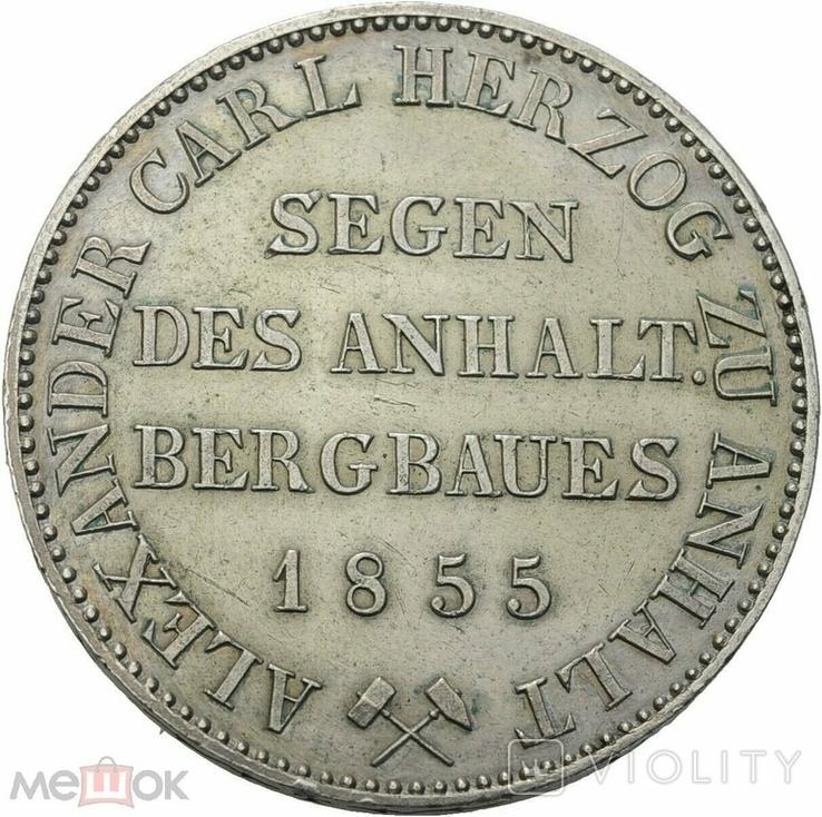 Германия Ангальт-Бернбург 1 талер 1855 А, фото №3