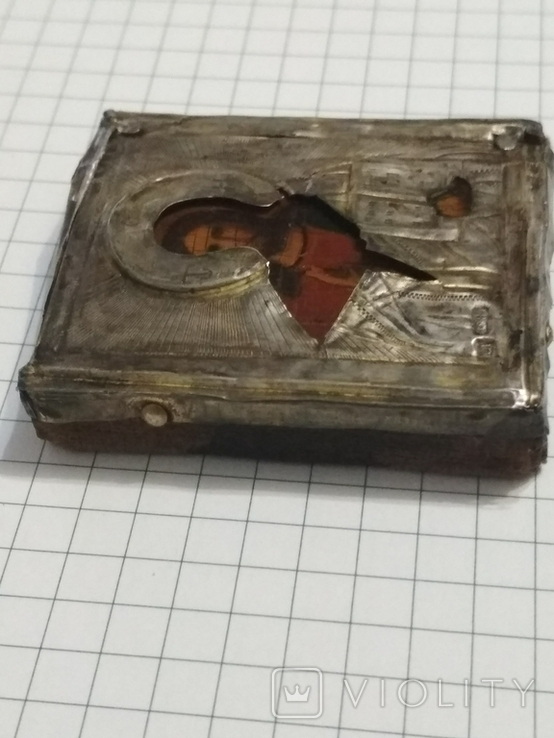 Иконка в серебряном окладе под реставрацию.(4-4.7см), фото №8