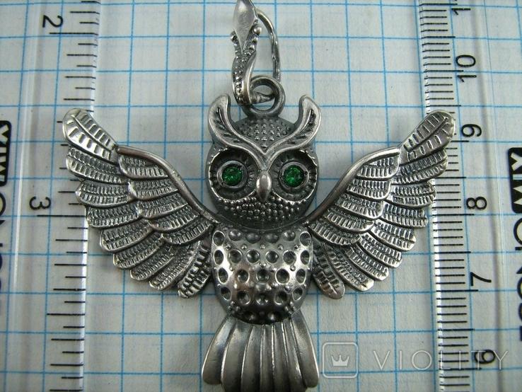 Серебряный Кулон Подвеска Сова Крылья Глаза Зеленые Камни Серебро 925 проба 267, фото №4