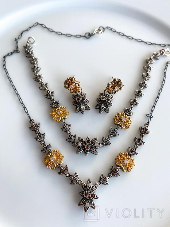 Старенький гарнитур колье, браслет, серьги. Серебро, позолота, камни., фото №12