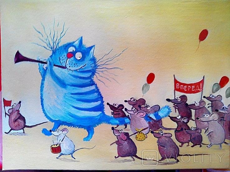 "Картина  копия ""Синие коты""Холст Масло На Двп Ручная Работа 30*40см"