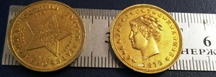 4 долара золотом 1879  року  CША /репліка/ копія позолота  999.  не магнітна, дзвенить