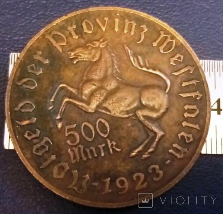 500 МАРОК 1923 року Вестфалія /НІМЕЧЧИНА / копія , не магнітна , бронза, фото №2