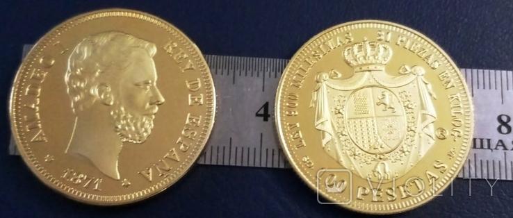 100 песет  1870року  року Іспанія.  магнітна, точна  копія,  позолота 999