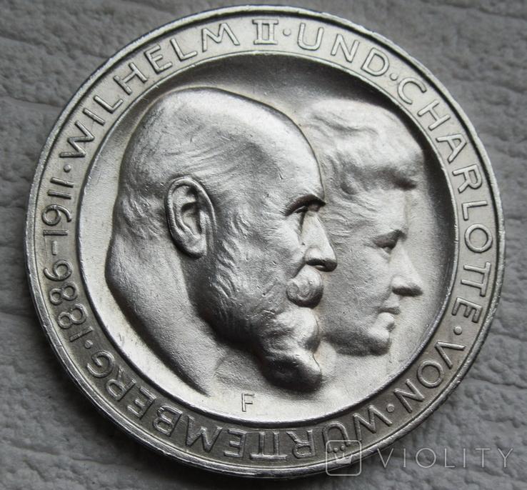 """Вюртемберг 3 марки 1911 г., """"Серебряная свадьба Вильгельма и Шарлотты"""", фото №5"""