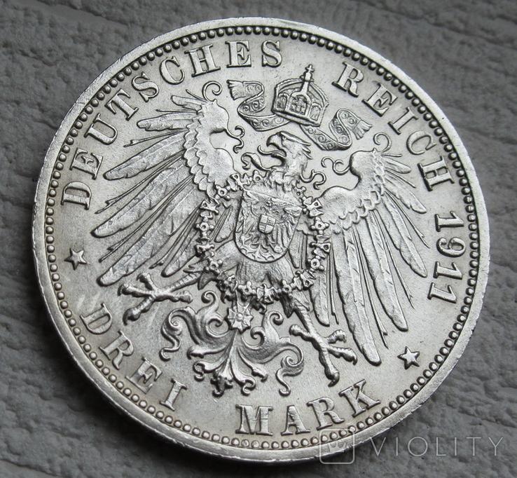 """Вюртемберг 3 марки 1911 г., """"Серебряная свадьба Вильгельма и Шарлотты"""", фото №10"""