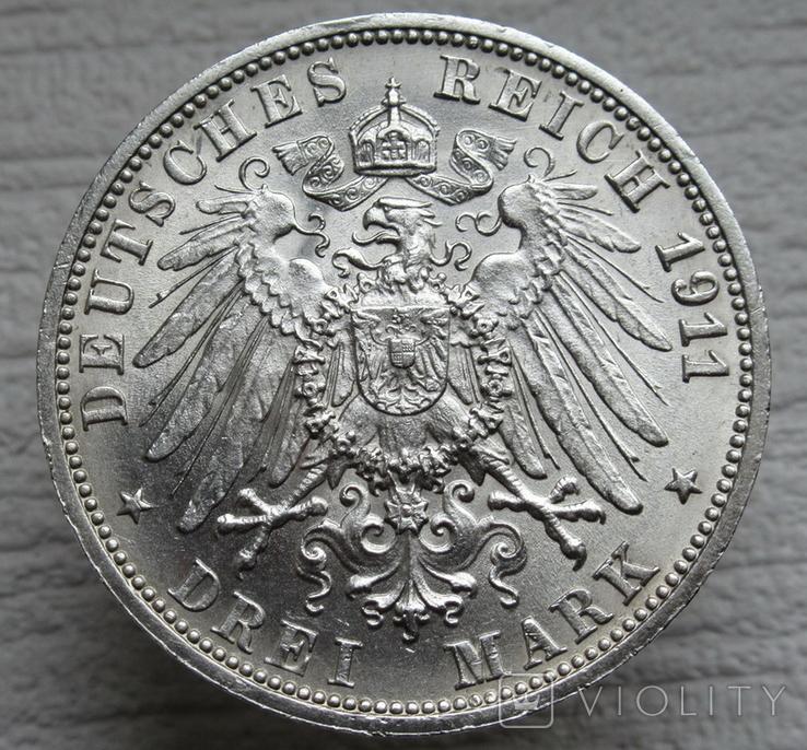"""Вюртемберг 3 марки 1911 г., """"Серебряная свадьба Вильгельма и Шарлотты"""", фото №11"""