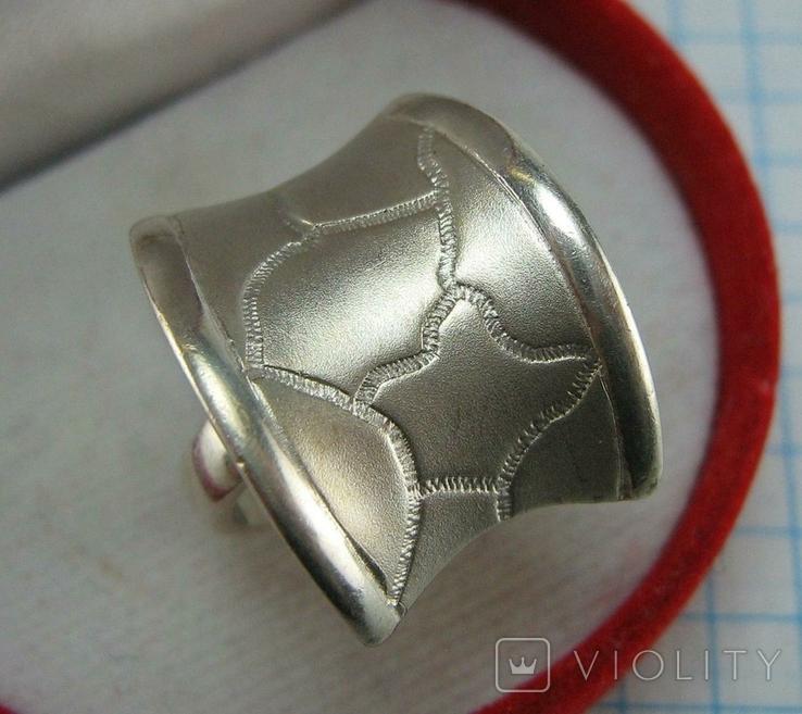 Серебряное Кольцо Размер 16.5 Пэчворк Лоскутный Узор Матовый 925 проба Серебро 775, фото №2