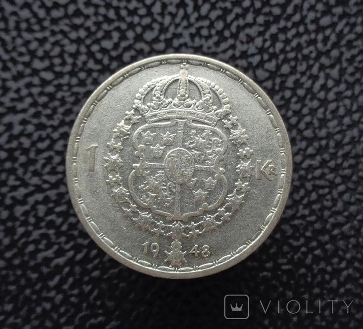 Швеция 1 крона 1948 серебро, фото №2