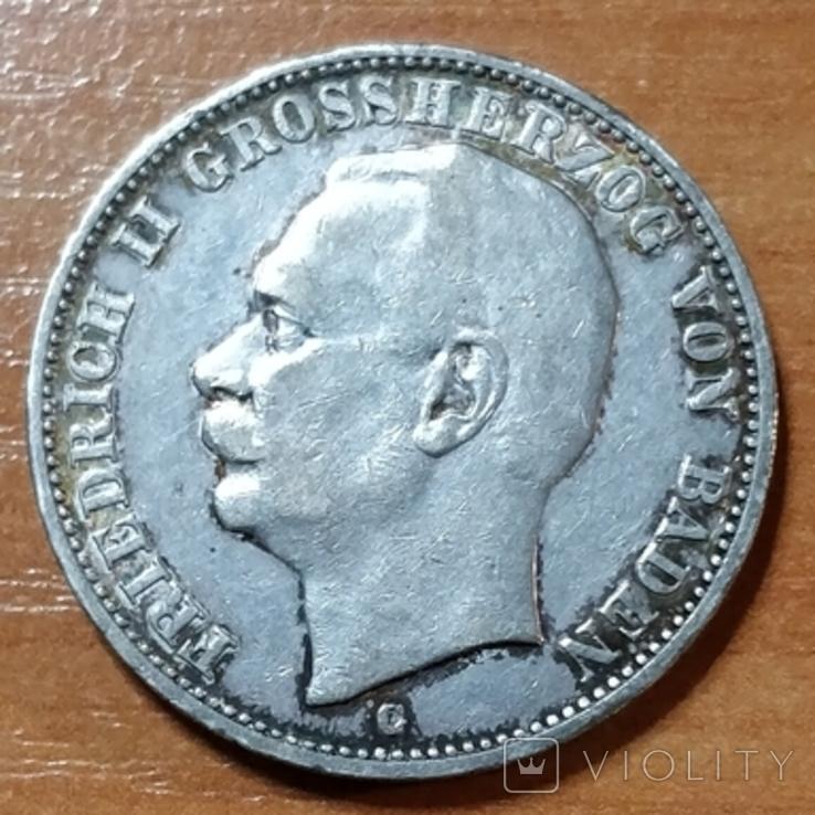 Баден, 3 марки,1909 г., фото №2