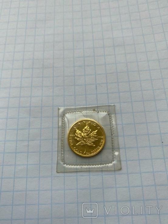 5 Долларов Золотой кленовый лист 1/10 oz.1987, фото №3