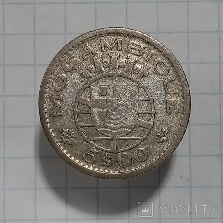 5 эскудо 1960г Порт. Мозамбик серебро, фото №3