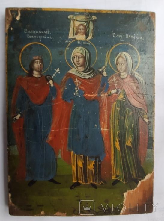 Икона. Св.Екатерина, Св.Мч.Ирина, Св.Муч.Наталия., фото №11