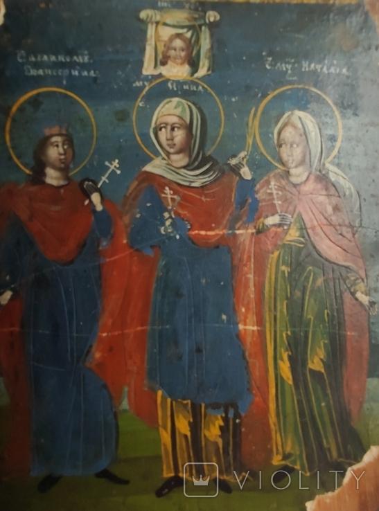 Икона. Св.Екатерина, Св.Мч.Ирина, Св.Муч.Наталия., фото №12