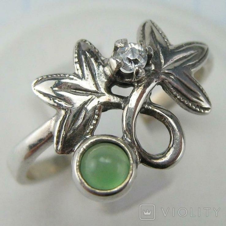 Серебряное Кольцо Размер 19.75 Натуральный Зеленый Хризопраз Кабашон 925 проба Серебро 060, фото №2