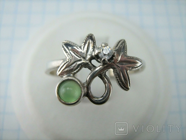 Серебряное Кольцо Размер 19.75 Натуральный Зеленый Хризопраз Кабашон 925 проба Серебро 060, фото №3