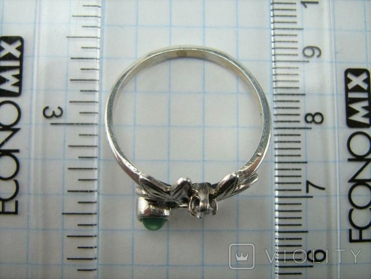 Серебряное Кольцо Размер 19.75 Натуральный Зеленый Хризопраз Кабашон 925 проба Серебро 060, фото №5