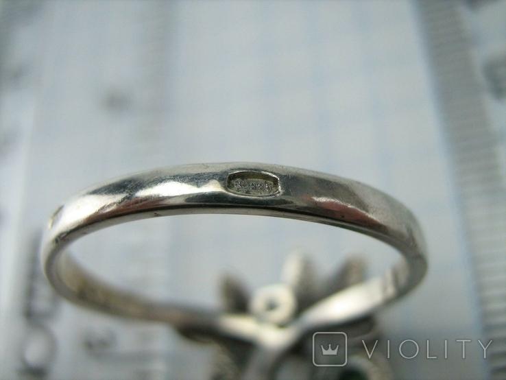 Серебряное Кольцо Размер 19.75 Натуральный Зеленый Хризопраз Кабашон 925 проба Серебро 060, фото №6