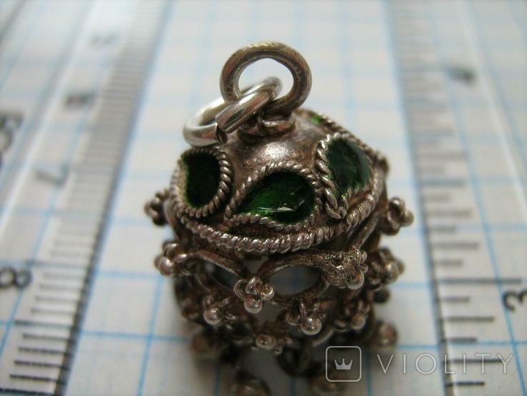 Серебряный Кулон Подвеска Бахрома Зернь Эмаль Необычный Колокольчик Серебро 345, фото №6