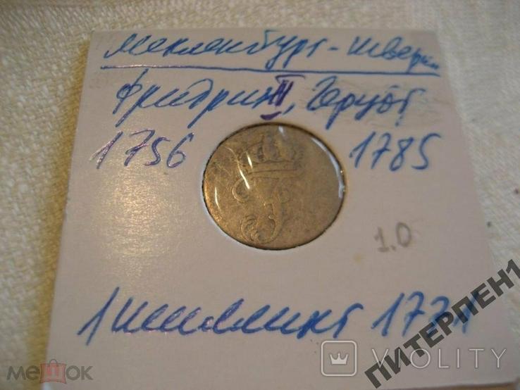 Германия Мекленбург-Шверин 1 шиллинг 1771 г  В холдере, фото №3