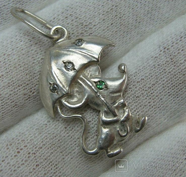 Серебряный Кулон Подвеска Мышь Мышка с Зонтом Зонтиком Серебро 925 проба 536, фото №2