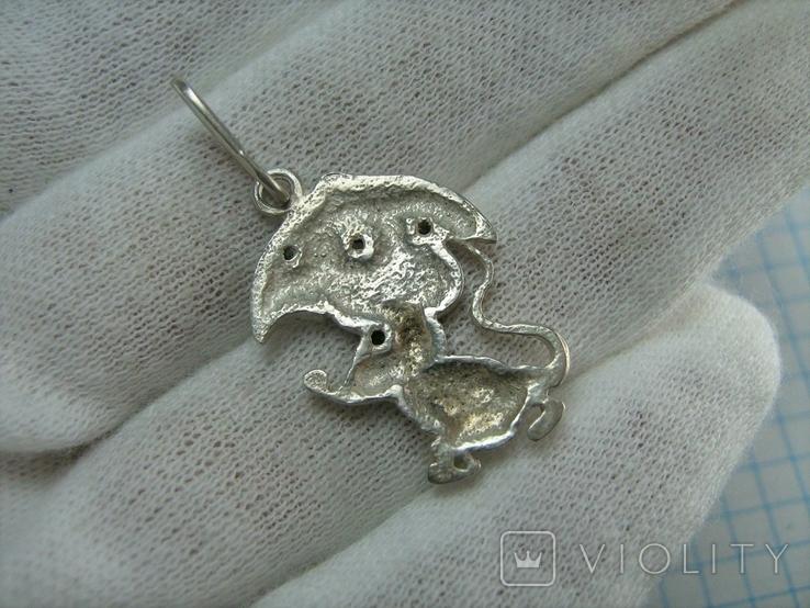 Серебряный Кулон Подвеска Мышь Мышка с Зонтом Зонтиком Серебро 925 проба 536, фото №3