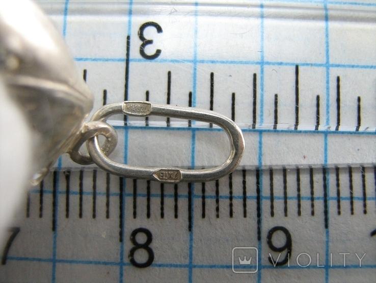 Серебряный Кулон Подвеска Мышь Мышка с Зонтом Зонтиком Серебро 925 проба 536, фото №4