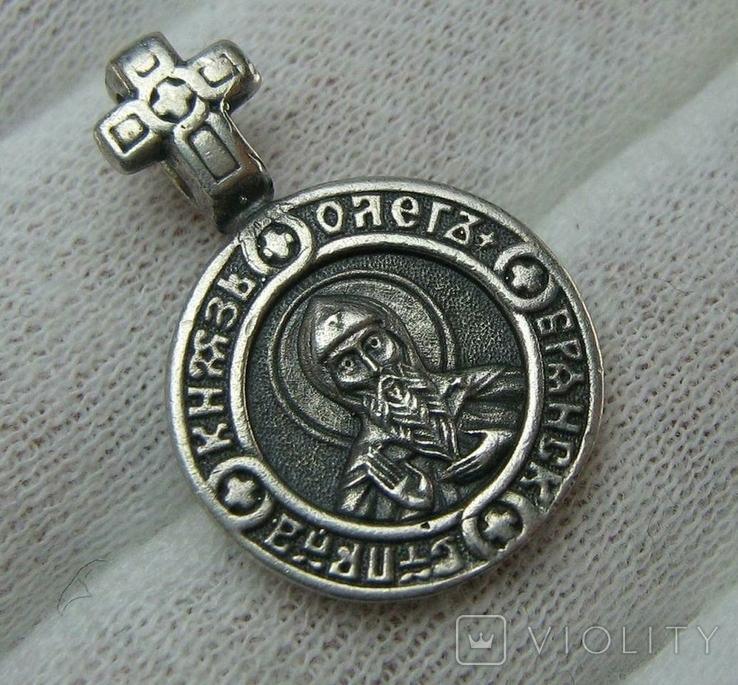 Серебряный Кулон Подвеска Образок Святой Князь Олег Ангел Хранитель Серебро 925 проба 851, фото №2