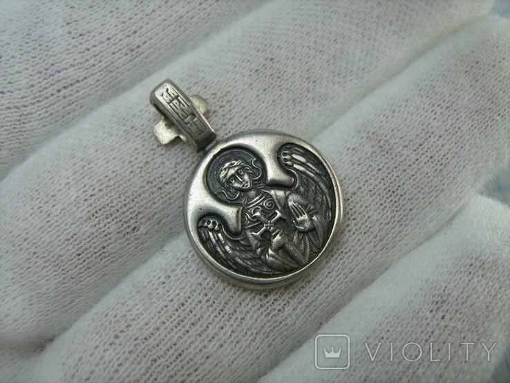Серебряный Кулон Подвеска Образок Святой Князь Олег Ангел Хранитель Серебро 925 проба 851, фото №3
