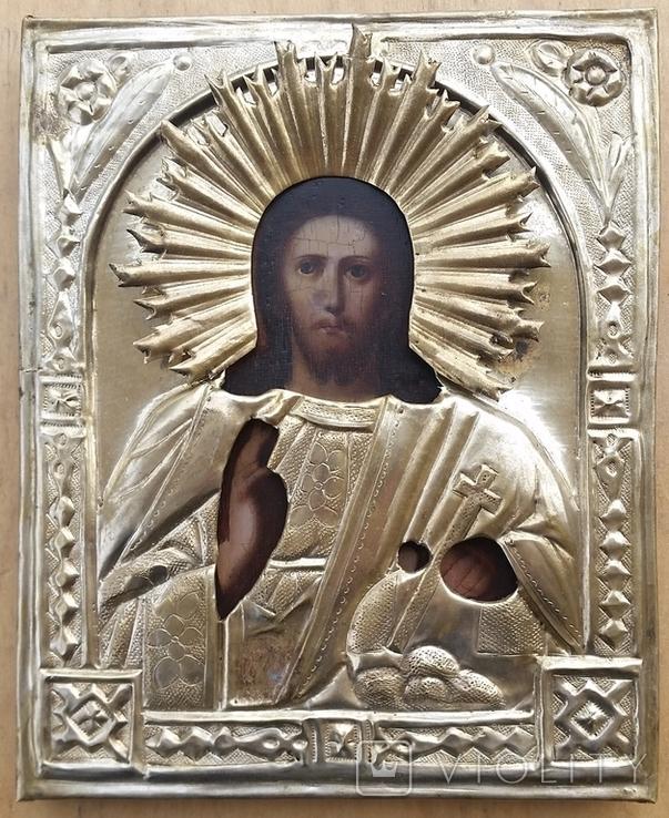 Ікона Ісус, латунь, 17,5х14,4 см, фото №2
