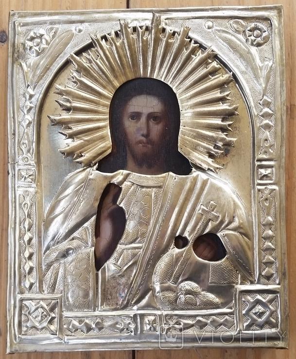 Ікона Ісус, латунь, 17,5х14,4 см, фото №3