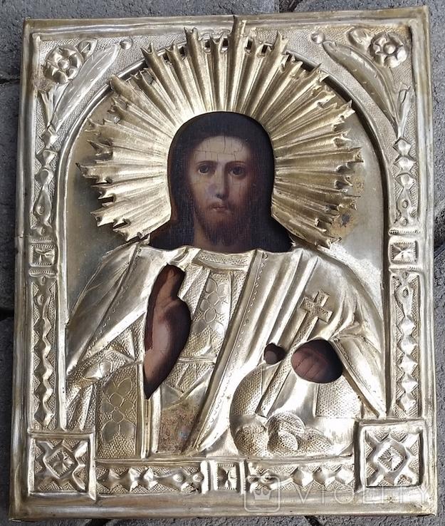 Ікона Ісус, латунь, 17,5х14,4 см, фото №5