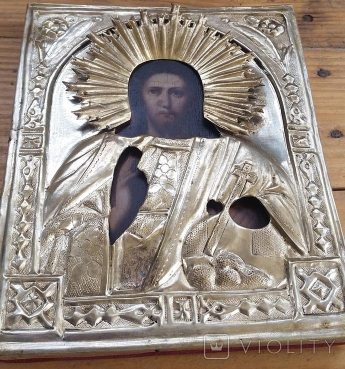 Ікона Ісус, латунь, 17,5х14,4 см, фото №10