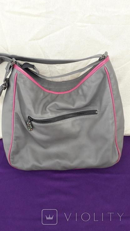 Сіра шкіряна сумка, фото №3