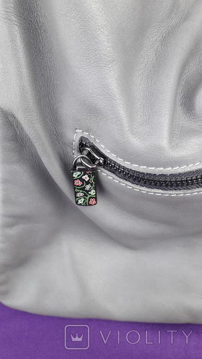 Сіра шкіряна сумка, фото №4