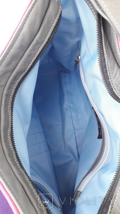 Сіра шкіряна сумка, фото №6