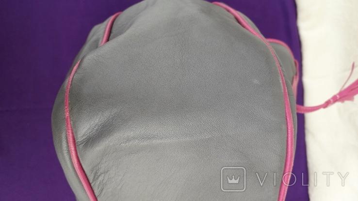 Сіра шкіряна сумка, фото №9