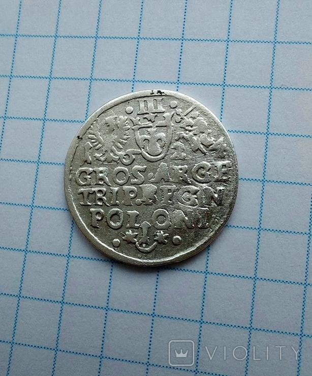 Трояк 1624 р перечекан букви., фото №3