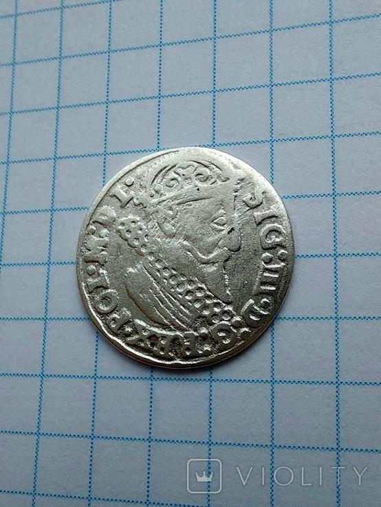 Трояк 1624 р перечекан букви., фото №4